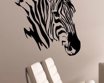 Zebra Wall Decal Vinyl Sticker African Horse Wild Animal Art Decorations for Home Housewares Living Room Bedroom Safari Wildlife Decor zb7
