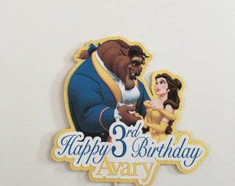 Beauty and the Beast Personalized Cake Topper