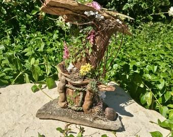 Butterfly Fairy House, Floral Fairy House, Butterfly Fairy, Log Fairy House, Wood Fairy House,