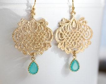 Aqua Blue Gold Filigree Dangle Earrings. Blue Chandelier Earrings. Boho Chic. Fan Style. Beach Wedding. Wedding Jewelry. Bridesmaid Gift.