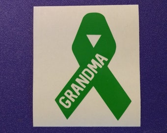 Liver Cancer Awareness Customized Green Ribbon Decal #84