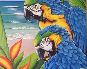Tropical Blue and Gold Macaws