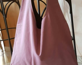 Linen/cotton reversible tote bag