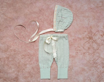 Baby Photography props clothing set Newborn Mint green Pants and Bonnet baby photo prop up-cycled outfit