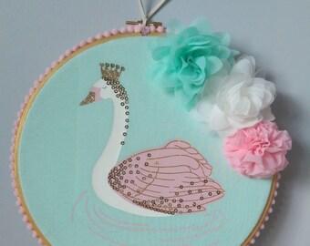 Pretty princess swan wall hanging