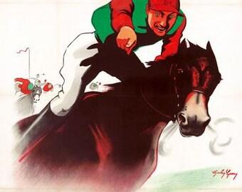 Vintage 1935 Longchamp Paris Horse Racing Poster A3 Print