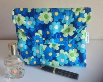 Floral make up bag, blue cosmetic bag, quilted makeup bag, storage pouch, birthday gift