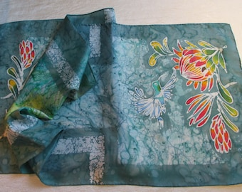 Protea with Sunbird on Silver Green Batik Scarf