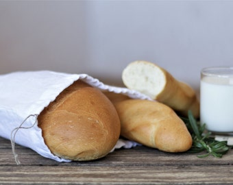 White Natural Linen Bread Bag