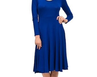 Long Sleeve Fit and Flare Midi Dress Royal Blue