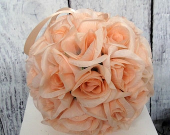Peach kissing ball, Ceremony decor, Flower girl bouquet, Silk wedding flowers, Peach roseball, Pew marker, Peach wedding accessory,