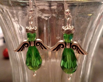 Green Crystal Angel Earrings