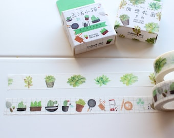Succulents Washi Tape, Gardening stickers, Nature Plants Leaf Tape, Green Washi Tape, Watercolour Tape, Planner Tape (NT-108, LS-102)