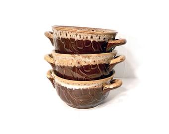 Three Brown Drip Handled Bowls by BigMuddyVintageShop