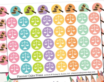 40 Law Lawyer Stickers| Law School Planner Stickers | Gavel Scales of Justice Judge Attorney Court Date Stickers | Fits Erin Condren Others