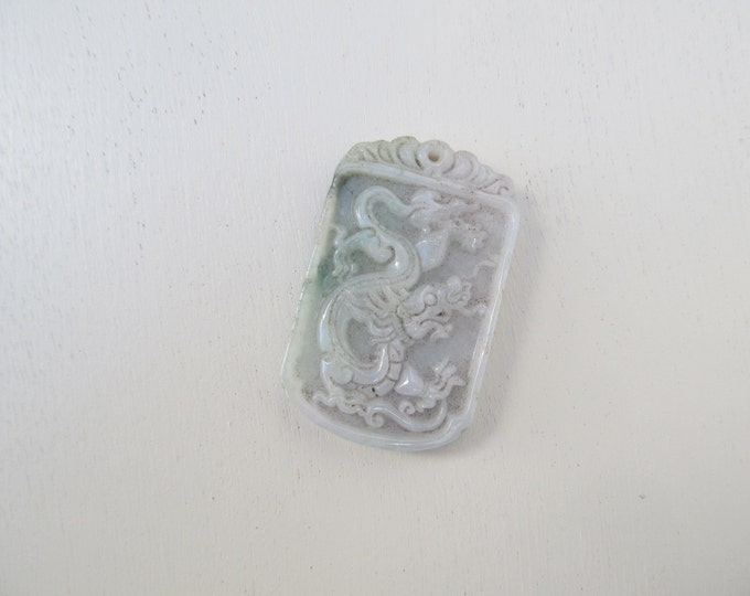 Jade green dragon pendant, vintage Chinese collectable good luck charm, zodiac dragon pendant, cabinet display, soft pale green stone