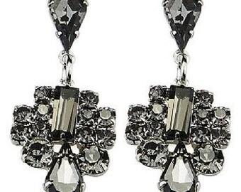 Grey Art Deco Style Earrings - Wedding/Bridal/Bridesmaid/Prom EA6049j