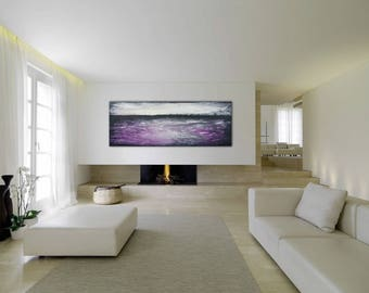 Panoramic Abstract Painting XLarge Canvas UNSTRETCHED Custom Painting Black White Purple Abstract Original Art Wall Art Canvas Art Seascape