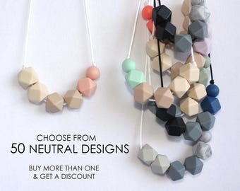 Silicone Teething Necklace CHOOSE Color Neutrals Baby Bite Bead Nursing Necklace Teether Chewing Beads Chew Jewelry Toddler Teething  Toy