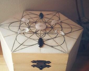 Chakra Healing Crystal Grid Storage Chest w/ Crystal Starter Kit Set of 7: 4 Clear Quartz, 1 Rose Quartz, & 2 Hematite stones for Zen/yoga