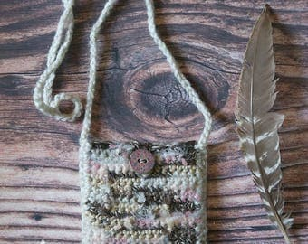 """Boho Neck Pouch Wallet Purse Gift For Her Bib Necklace Woven Medicine Bag Gift Bag OOAK Rustic Handmade Purse """"Peace Purse"""""""