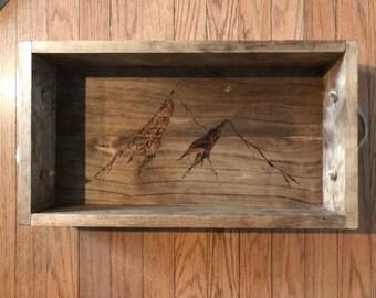 Wooden Serving Tray | Decorative Tray| Mountain Tray