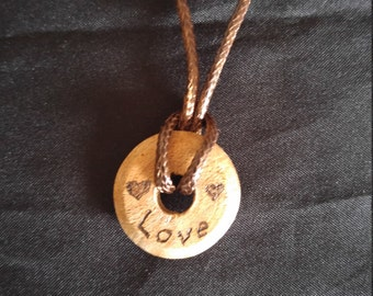 Wood necklace, love pendant, Valentine's day necklace, free hand wood burned pendant, rustic wood pendant, gift for her, bride gift