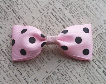 Baby Pink Polka Dot Hair Bow, Girls Hair bows, Hair accessories, party favors, stocking stuffers