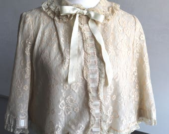 Vintage Odette Barsa for Lord and Taylor Bed Jacket Lace Ruffles Bow and Peter Pan Collar 50s