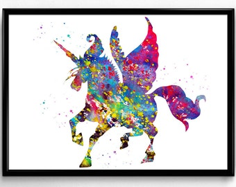 Winged Unicorn, Magical Mythological Animal, Colorful Watercolor, Poster, Fantasy Room Decor, Instant Download, printable wall art (574)