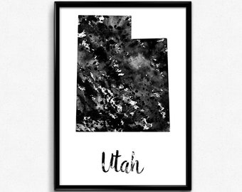 Map of Utah, United States of America, Black and White Map, Travel, Watercolor, Room Decor, Print, Wall Art, Poster, gift (777)