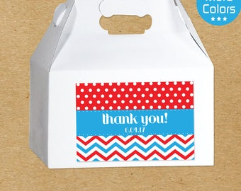 Party Favor Boxes and Stickers, Custom Favor Stickers, Custom Favor Boxes