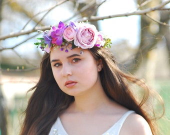 Rose Lily flower crown Flower headband Wedding flower crown Bridal flower crown Boho wedding Flower headband Bohemian flower crown Wedding