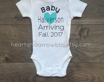 Personalized Baby Announcement Onesie® / Bodysuit / Newborn / Baby/ Maternity/ Gender Reveal/ Photography Prop