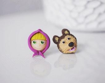 Fimo handmade earrings Masha and the Bear