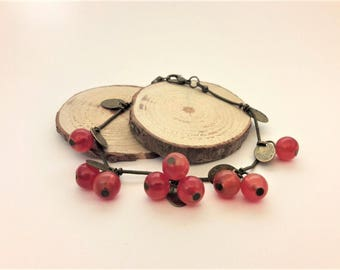 Berry forest bracele, nymph jewelry,  antique gold bracelet, berry beads, fairy tale bracelet, boho chic jewelry, enchanted forest jewelry
