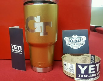 GA Tech 20 oz. OR 30 oz. Yeti Rambler Tumbler - hand painted and designed!