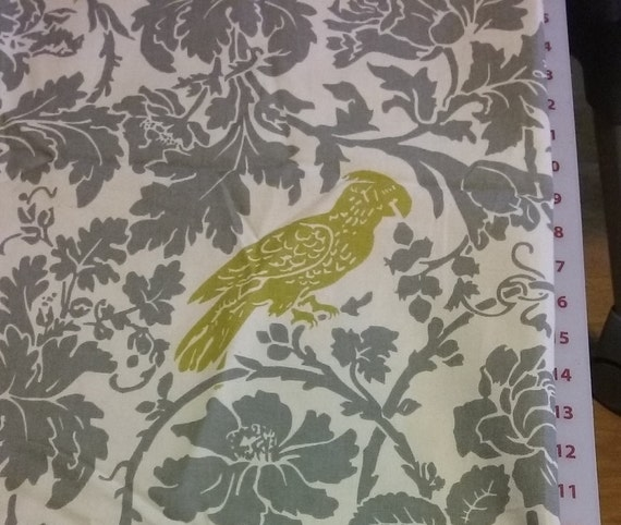 Home Decor Fabric, Gray, Yellow-green, Fabric, Parrot