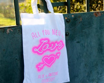 Pack 10 MiniTotebags Love marriage customizable for wedding gift /evjf / evg / children of honour - Handprinted in France