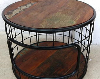 Solid wood coffee table round Ø 60 cm old timber industry lounge design sofa table