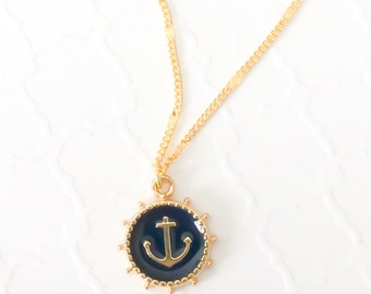 Nautical Necklace For Women/ Gold Anchor / Gift For Her / Beach Jewelry For Her/ Beach Wedding Party Gift