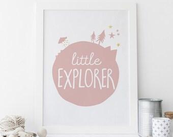 Little Explorer, Adventure Nursery Printable, Blush Nursery