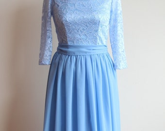 Long blue lace dress for bridesmaids Pastel blue bridesmaid dress Long bridesmaid dress Long prom dress Pale Blue dress women  Niagara dress