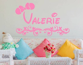 Minnie Mouse Wall Decals Personalized Girl Custom Name Vinyl Decal Sticker  Wall Decor For Girls Bedroom Part 46