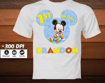 Little Mickey Mouse Iron on Transfer Birthday Shirt Personalized Mickey Mouse Digital Party Shirt-Printable Mickey Disney transfer-DOWNLOAD