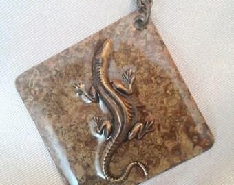 SALE! Brass Pendant / Necklace / Reversible Lizard Pendant /Brass Jewelry /Patina Pendant Necklace with Lizard / FREE SHIPPING!