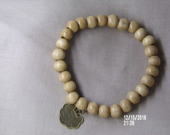 N1249 Small light Brown Wooden Handmade Bracelet With Chinese coin.