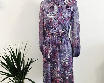 1970s - Boho Floral Dress - Sheer Sleeves - Polyester Dress