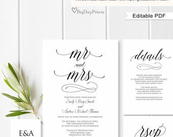 Wedding Invitation Suite, Wedding Invitation Template, Calligraphy Wedding Invitation Template, Mr and Mrs, #A040, Editable PDF