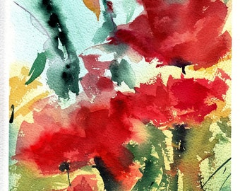 """Original Watercolor """"Red Flowers"""" 13 x 10 in. (33 x 25 cms.) on acid free, 140 lb watercolor paper ARCHES cotton 100%."""